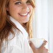 I love a coffee in the morning - Stock Photo