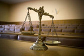 Decorative Scales of Justice in the Courtroom — Stock Photo
