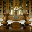 Stock Photo: Symbol of Law and Justice in the library