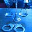 Decorative Scales of Justice in the Courtroom — Stock Photo #23713225