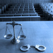 Stock Photo: Decorative Scales of Justice and handcuffs