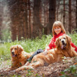 Portrait of a woman with her two dogs — Stock Photo