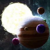 Słońce jak gwiazda z planetami w przestrzeń kosmiczną — Zdjęcie stockowe