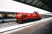 Train Station with red train — Stock Photo