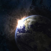 Earth with rising sun — Stock Photo