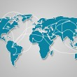 Image of a light blue world map with the ways of communication — Stock Photo #18742125