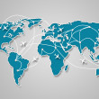 Image of a light blue world map with the ways of communication — Stock Photo #18742345
