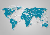 Image of a light blue world map with the ways of communication — Stock Photo