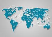 İletişim yollarını açık mavi dünya harita görüntüsü — Stok fotoğraf