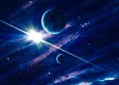 Planet z shining star w przestrzeni — Zdjęcie stockowe