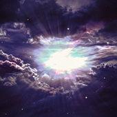 在深层空间距地球很远很多光年的星级字段。由美国国家航空航天局装备此图像的元素 — 图库照片