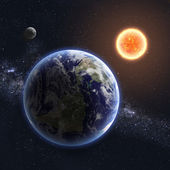 Earth and Sun. Elements of this image furnished by NASA — Stock Photo