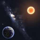 Earth and Sun. Elements of this image furnished by NASA — 图库照片