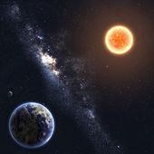 地球和太阳。由美国国家航空航天局装备此图像的元素 — 图库照片