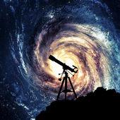 Silhouette of Telescope — Stock Photo