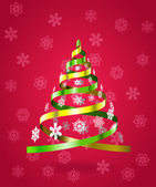Colorful ribbons in the form of a Christmas tree. — Stock Vector
