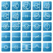 Symbolsatz elektrischer schaltungen. — Stockvektor