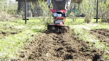 Garten tiller — Stockvideo