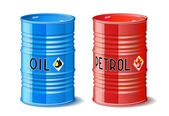 Metal barrels with oil and petrol. — Stock Vector