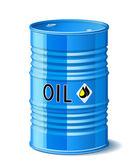 Metalen vat met olie. — Stockvector