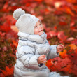 Portrait of a baby with autumn — Stock Photo