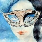 Watercolor portrait of beautiful girl — Stock Photo