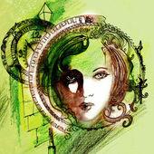 Abstract illustrated beautiful woman — Stock Photo