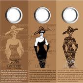 Geïllustreerde mooie elegante vrouw - vectorillustratie — Stockvector