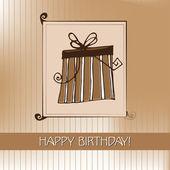 Fondo con caja de regalo ilustrado para su diseño de cumpleaños — Vector de stock