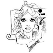 Art nouveau style woman portrait — Vetorial Stock