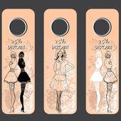 Etiquetas de precios lindas ilustradas con las chicas de moda - ilustración vectorial — Vector de stock