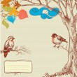 Autumn tree and birds - Stockvectorbeeld