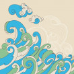Retro sea waves vector background — Stock Vector #12342983