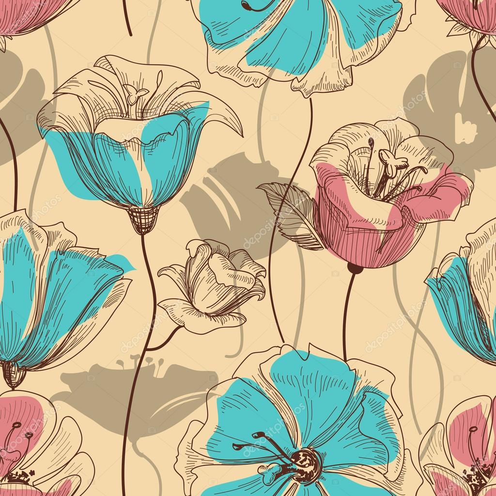 Retro floral seamless pattern — Stock Vector #12342917