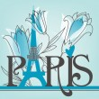 Stock Vector: Paris lettering with lilies