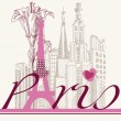 Paris card urban architecture and lily — Vettoriali Stock