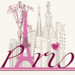 Paris card urban architecture and lily — Imagen vectorial