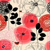 Blommor och hjortar seamless mönster — Stockvektor
