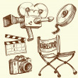 Cinema and photography vintage set - Stockvektor