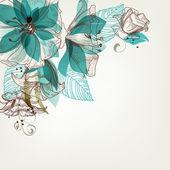 Ilustración vectorial de flores retro — Vector de stock