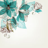 Retro flowers vector illustration — Vettoriale Stock