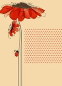 Elegant vector card with flowers and cute ladybug — Vector de stock