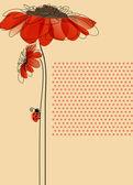 Tarjeta de vector elegante con flores y mariquita linda — Vector de stock
