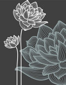 Vector flowers over black background — Vettoriale Stock