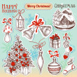 Christmas hand drawn symbols and stickers set - Stock Vector