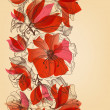 Red flowers seamless pattern in retro style — Imagen vectorial