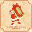 Stock Vector: Vintage Christmas card, Santa with gift