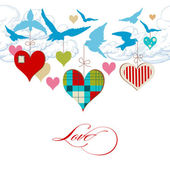 Pájaros azules y corazones en el vector de cielo — Vector de stock