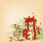 Christmas gift box with red ribbon, tree branch and ornaments ve — Stock Vector
