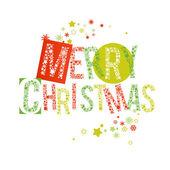 Wesołych świąt bożego narodzenia tekst czerwony i zielony — Wektor stockowy